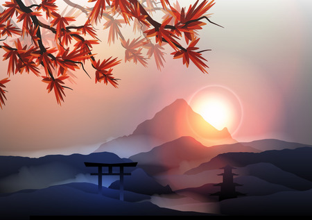 Japanese Mountain Landscape - Vector Illustration