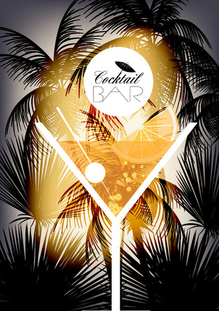 nightclub bar: Cocktail Party Retro Poster Design - Vector Illustration
