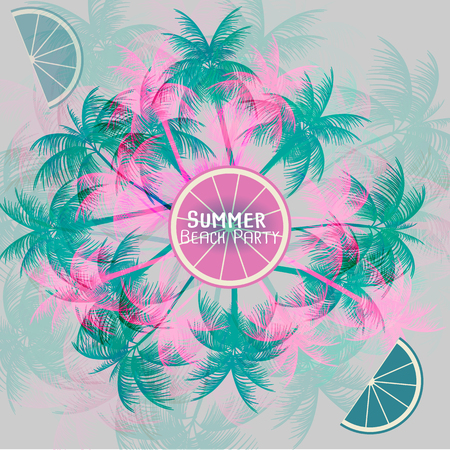 palm tree vector: Tropical Background with Palm Tree - Vector Illustration