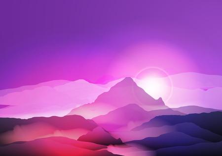 Purple Mountains in Fog Sunrise - Vector Illustration