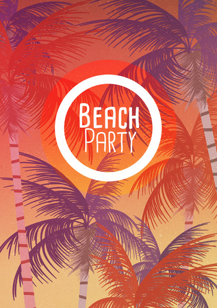 palm tree: Tropical Background with Palm Tree - Vector Illustration