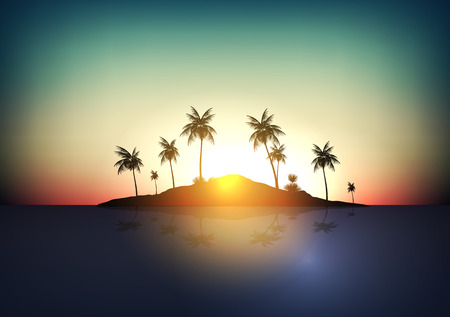 tropical: Tropical Island - Vector Illustration Illustration
