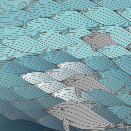 aciculum: Seamless Wave Background Pattern with Dolphin - Vector Illustration Illustration