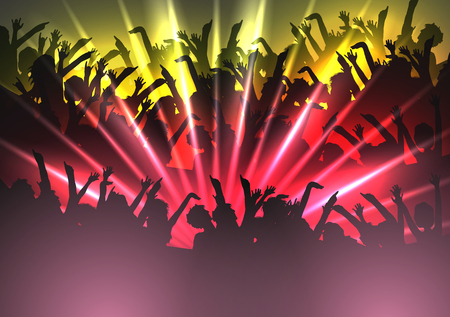 event party festive: Party People Crowd, Festive Disco Event Background - Vector Illustration