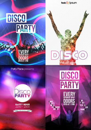 party club: Club Flyers ,Disco Party Poster Collection - Vector Illustration
