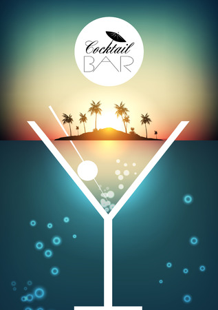 Cocktail Party Retro Poster Design with Tropical Island - Vector Illustration Vektorové ilustrace
