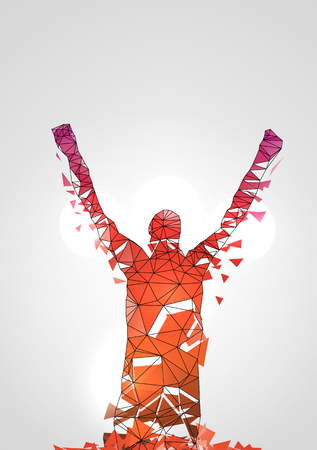 arms outstretched: Abstract Polygonal Geometric Successful Man