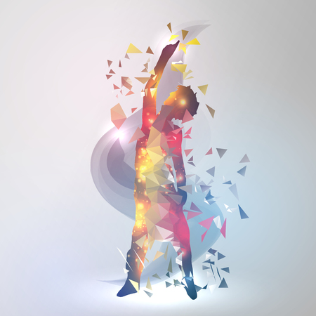 Dancing Boy with Colorful Geometric Triangles Illustration