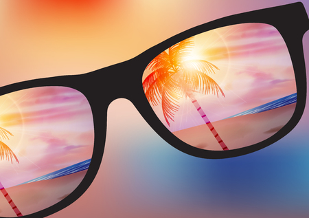 beach sunset: Summer Beach Sunset Design with Sunglasses on Blurred Background - Vector Illustration
