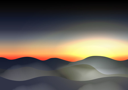 northern light: Twilight Sky Mountains in the Fog