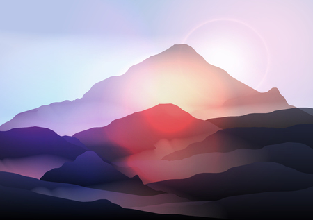 sunrise mountain: Mountain Landscape at Sunrise Illustration