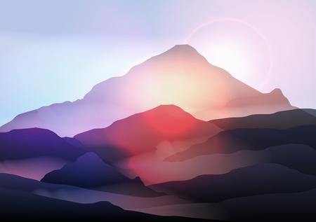 Mountain Landscape at Sunrise Illustration