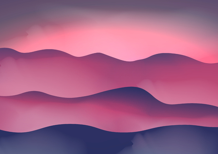 fog: Mountains in the Fog at Sunset Illustration