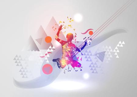 atletismo: El muchacho de baile en el fondo abstracto moderno