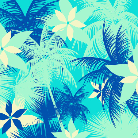 brazil beach swimsuit: Tropical Leaf and Flower Pattern - Vector Illustration