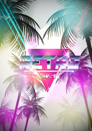 Retro Futurism Neon Poster with Palm Tree - Vector Illustration