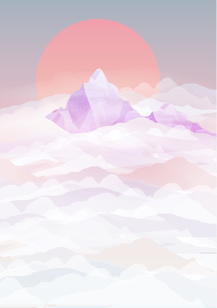 above clouds: Mountains Backgrounds with Sunset above Clouds - Vector Illustration Illustration