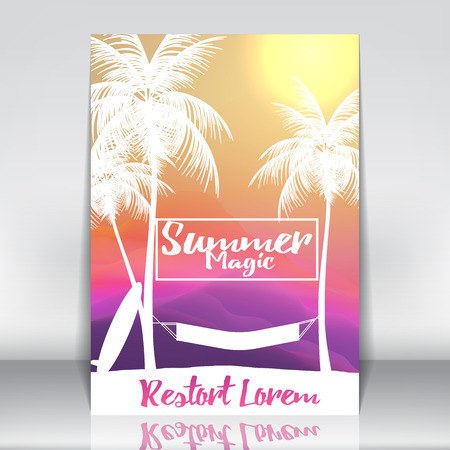 Tropical Summer Vacation Holiday Island Resort with Palm Tree and Hammock - Vector Illustration
