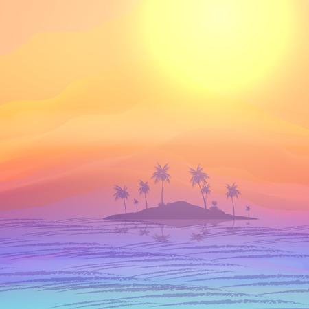 Summer Vacation Island Background - Vector Illustration