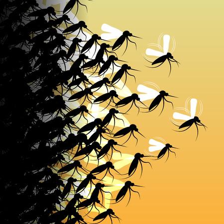 Mosquitoes in Flight - Vector Illustration