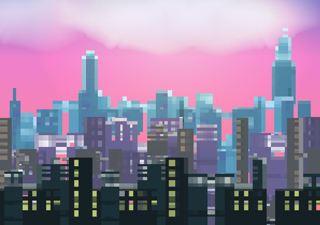 Retro Eight Bit City Skyline at Night Background - Vector Illustration