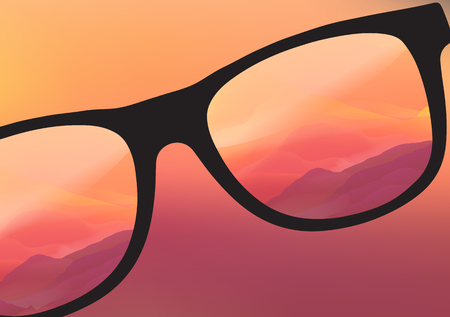 sunglasses reflection: Sunglasses with Abstract Gradient Landscape Reflection - Vector Illustration Illustration