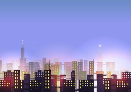 skyline city: City Skyline at Night - Vector Illustration