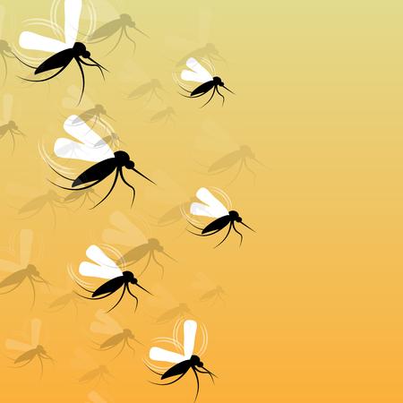 disease carrier: Mosquitoes in Flight - Vector Illustration