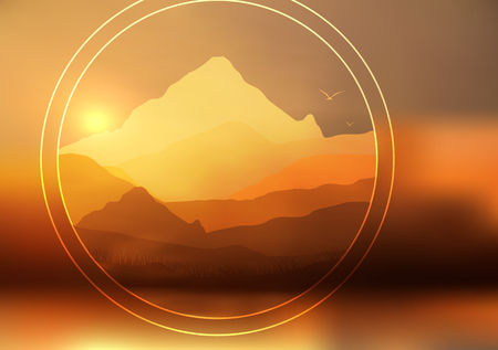 Abstract Sunset, The Dawn Sun Over the Mountains Landscape - Vector Illustration Illustration