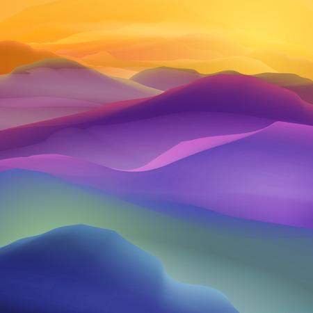 Atardecer o amanecer sobre las montañas del paisaje - Ilustración Ilustración de vector