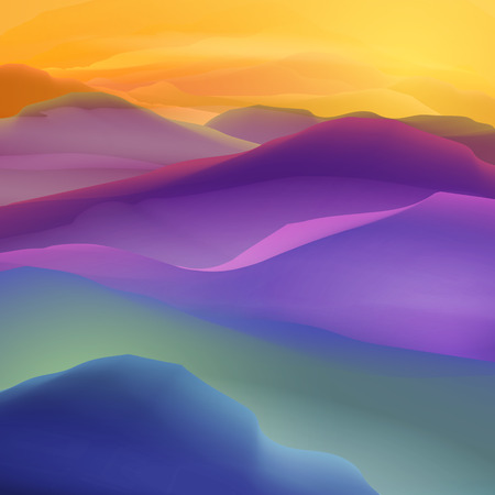 Sonnenuntergang oder Dämmerung über die Berge, Landschaft - Illustration Vektorgrafik