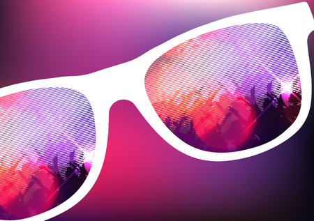 clubber: Reflection of a Party Event on Sunglasses - Illustration