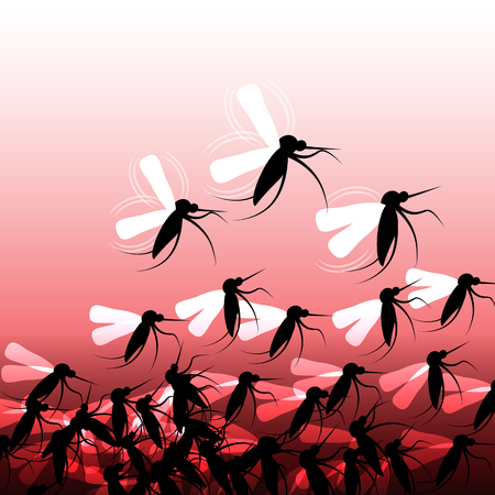 mosquitoes: Mosquitoes in Flight - Illustration