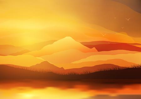 bstract la puesta del sol, el amanecer del sol sobre las montañas del paisaje - ilustración vectorial Ilustración de vector
