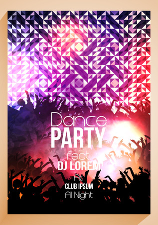 rave: Abstract Dance Music Poster with Colorful Geometric Triangles Background Template - Illustration