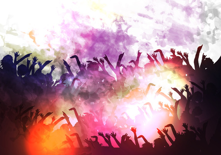 applauding: Crowd of Party People Background - Illustration