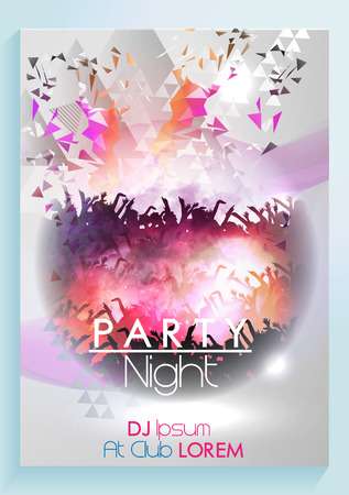 Abstract Dance Music Poster with Colorful Geometric Triangles Background Template - Illustration