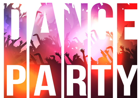 headliner: Dance Party Typography Background with Crowd - Illustration Illustration
