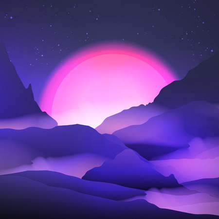 dawning: Sunset or Dawn Over the Mountains Landscape - Illustration