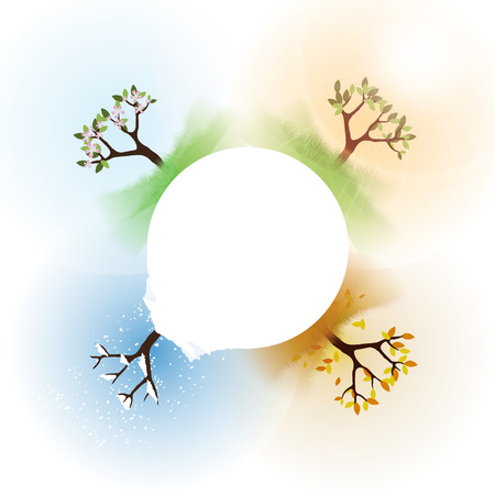 Four Seasons Spring, Summer, Autumn, Winter with Abstract Trees - Illustration