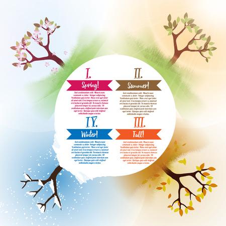 四季の春、夏、秋、冬の抽象木インフォ グラフィック - イラスト  イラスト・ベクター素材