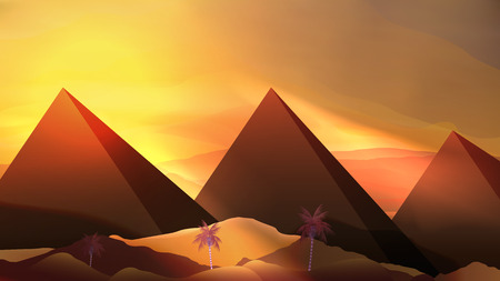 sand dunes: Abstract Pyramids and Sand Dunes - Vector Illustration