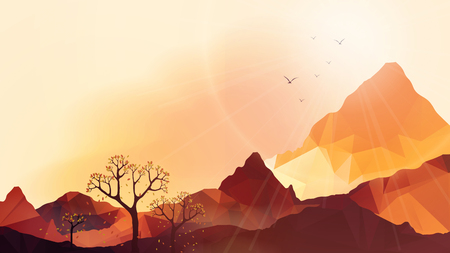 Geometric Mountain and Sunset Background - Vector Illustration