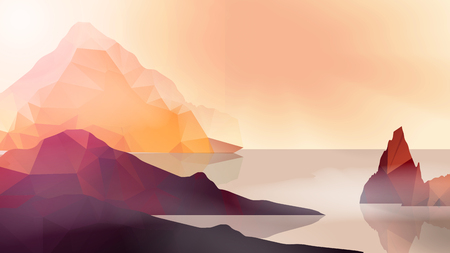 coast: Sea Coast with and High Cliffs - Vector Illustration