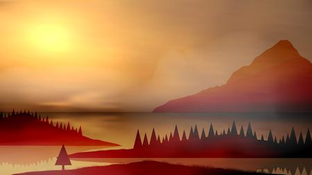 freely: Lake Valley Sunrise Landscape - Vector Illustration