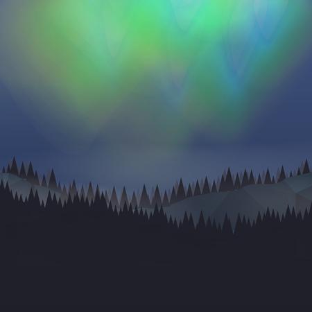 geomagnetic: Forest Landscape with Northern Aurora - Vector Illustration Illustration