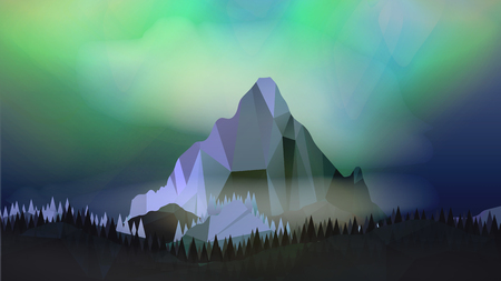 geomagnetic: Mountains Landscape with Northern Aurora - Vector Illustration