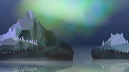 Lake and Mountains Landscape with Northern Aurora - Vector Illustration