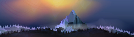 Mountains Landscape with Northern Aurora Panorama - Vector Illustration