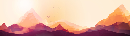 mountain sunset: Geometric Mountain and Sunset Background Panorama - Vector Illustration